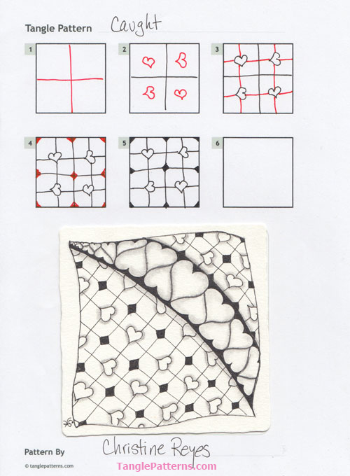 Zentangle pattern: Caught. Image © Christine Reyes