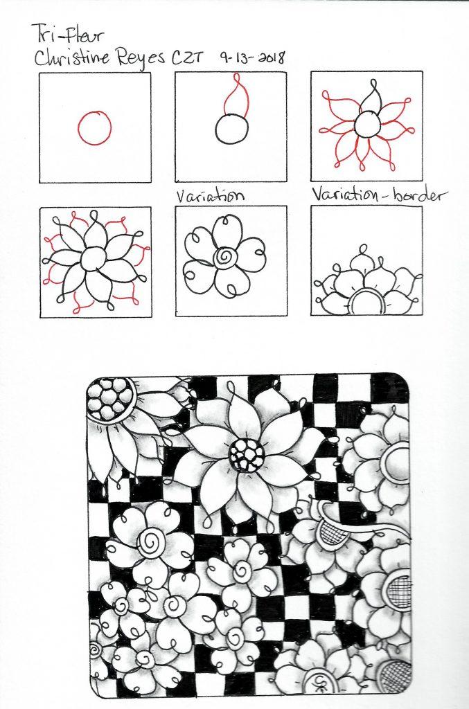 Tri-Fleur tangle pattern
